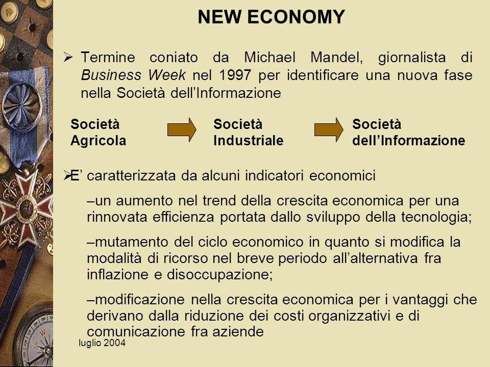 luglio 2004 NEW ECONOMY Termine coniato da Michael Mandel, giornalista di Business Week nel 1997 per identificare una nuova fase nella Società dellInf