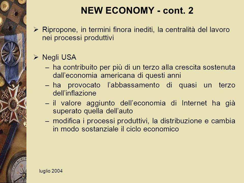 luglio 2004 NEW ECONOMY - cont. 2 Ripropone, in termini finora inediti, la centralità del lavoro nei processi produttivi Negli USA – ha contribuito pe