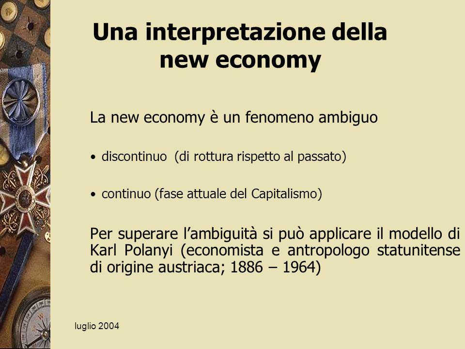 luglio 2004 Una interpretazione della new economy La new economy è un fenomeno ambiguo discontinuo (di rottura rispetto al passato) continuo (fase att