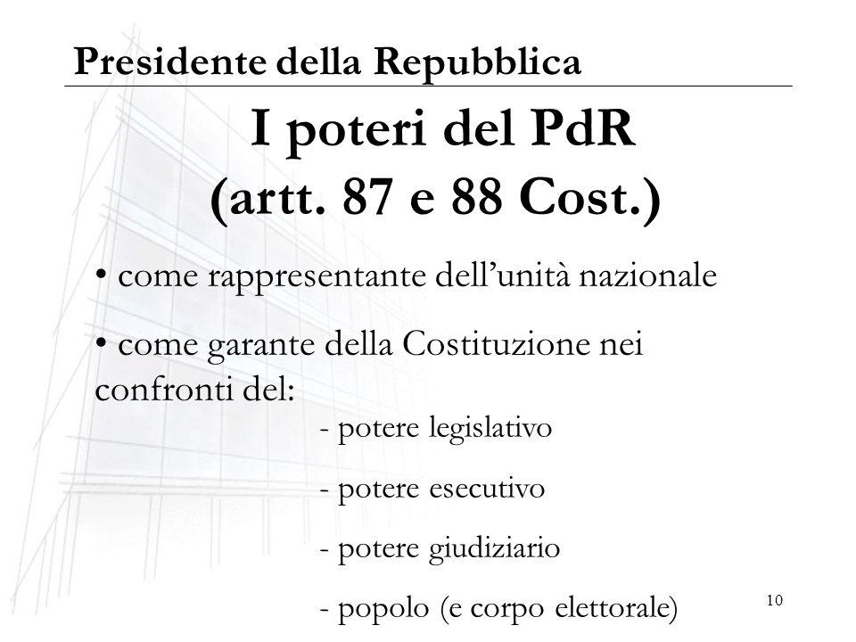 10 I poteri del PdR (artt. 87 e 88 Cost.) come rappresentante dellunità nazionale come garante della Costituzione nei confronti del: - potere legislat