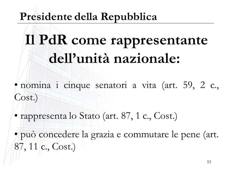 11 Il PdR come rappresentante dellunità nazionale: nomina i cinque senatori a vita (art. 59, 2 c., Cost.) rappresenta lo Stato (art. 87, 1 c., Cost.)