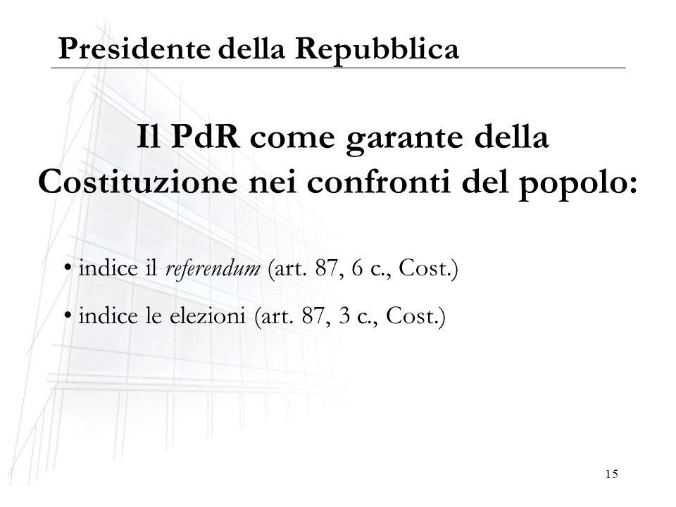 15 Il PdR come garante della Costituzione nei confronti del popolo: indice il referendum (art. 87, 6 c., Cost.) indice le elezioni (art. 87, 3 c., Cos