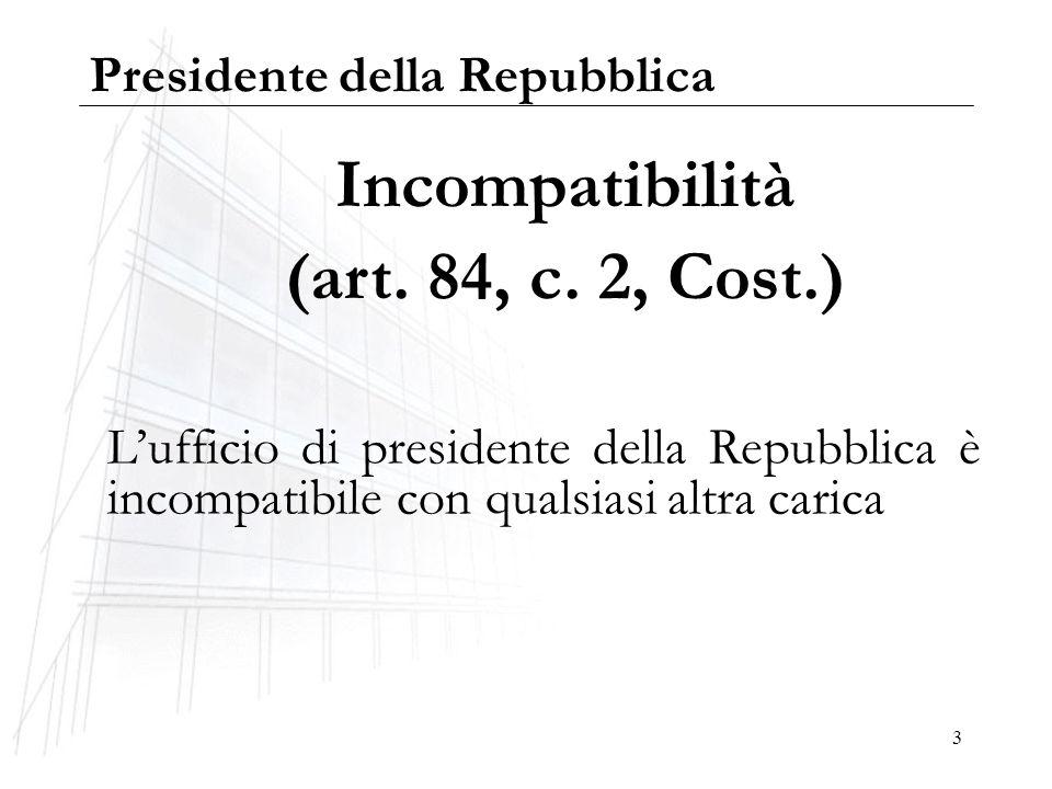 3 Incompatibilità (art. 84, c. 2, Cost.) Lufficio di presidente della Repubblica è incompatibile con qualsiasi altra carica