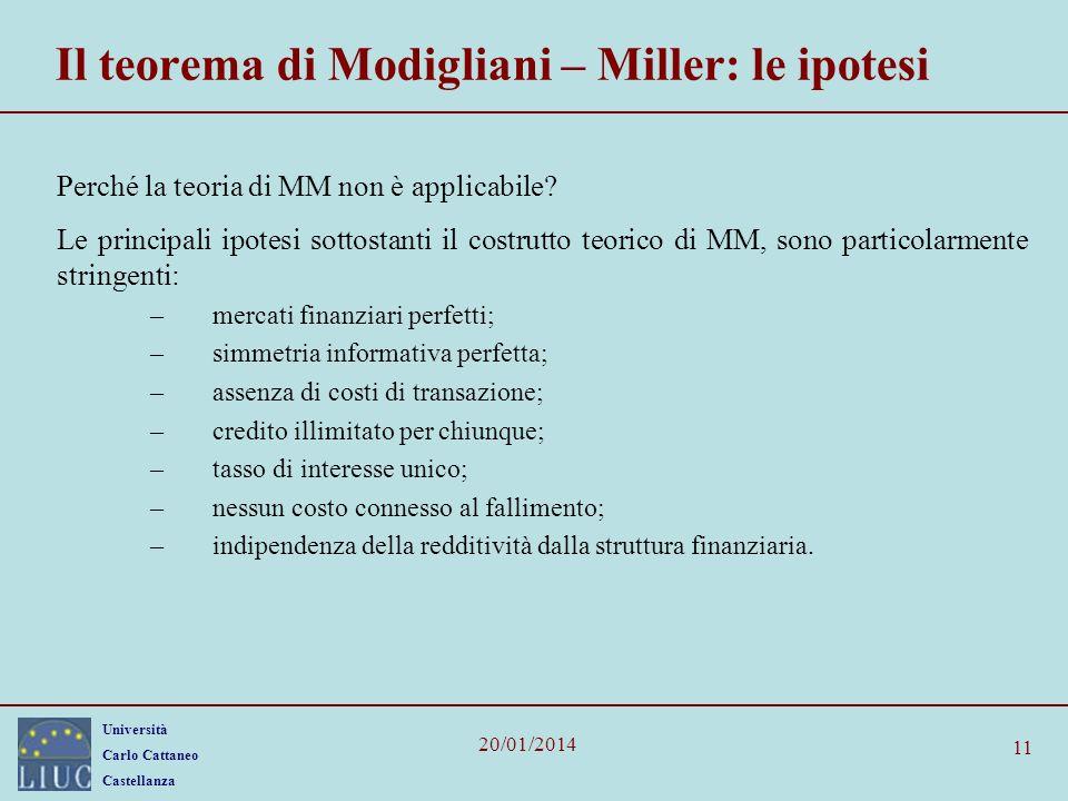 Università Carlo Cattaneo Castellanza 20/01/2014 11 Il teorema di Modigliani – Miller: le ipotesi Perché la teoria di MM non è applicabile? Le princip