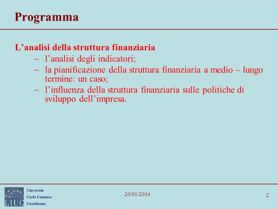 Università Carlo Cattaneo Castellanza 20/01/2014 2 Programma Lanalisi della struttura finanziaria lanalisi degli indicatori; la pianificazione della s