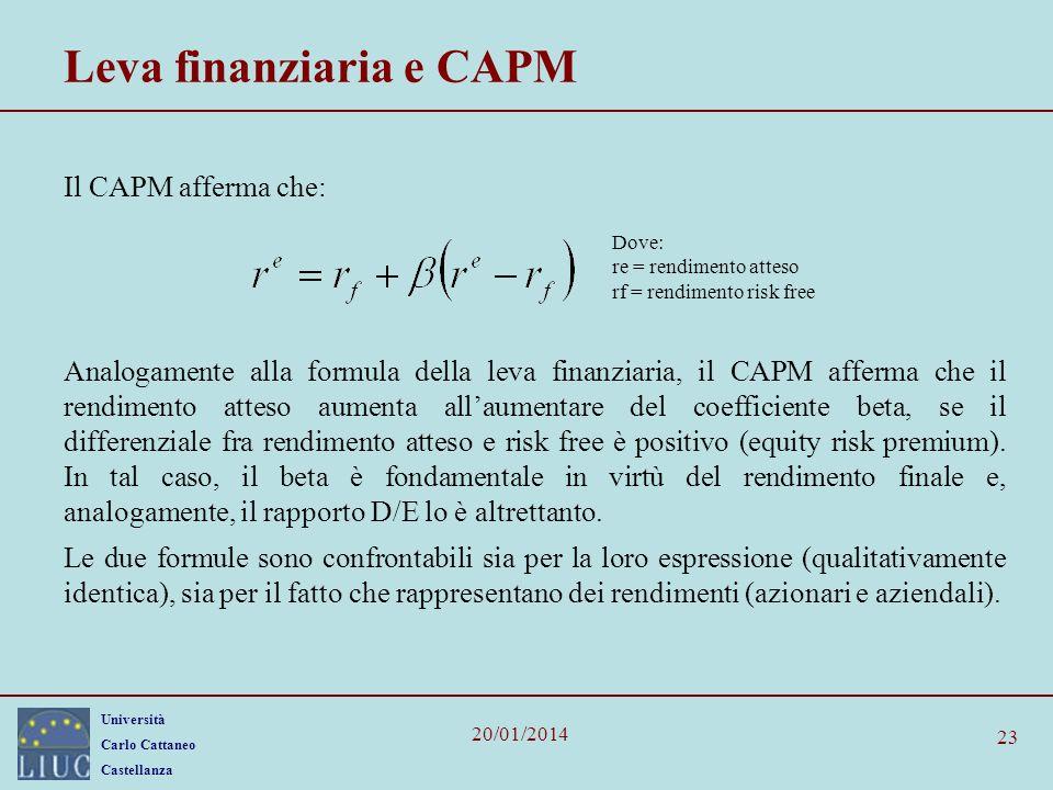 Università Carlo Cattaneo Castellanza 20/01/2014 23 Leva finanziaria e CAPM Il CAPM afferma che: Analogamente alla formula della leva finanziaria, il