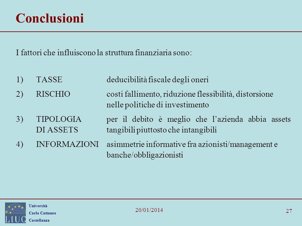 Università Carlo Cattaneo Castellanza 20/01/2014 27 Conclusioni I fattori che influiscono la struttura finanziaria sono: 1)TASSEdeducibilità fiscale d
