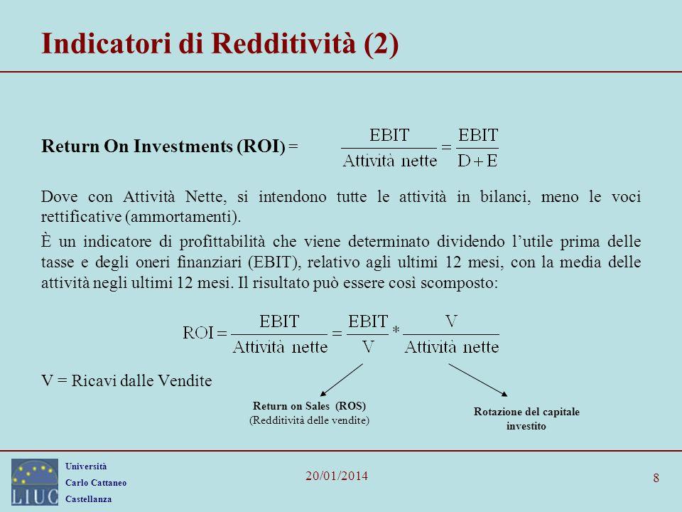 Università Carlo Cattaneo Castellanza 20/01/2014 8 Indicatori di Redditività (2) Return On Investments (ROI ) = Dove con Attività Nette, si intendono