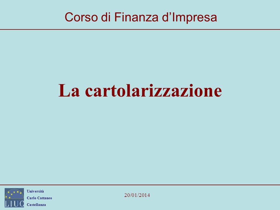 Università Carlo Cattaneo Castellanza 20/01/2014 La cartolarizzazione Corso di Finanza dImpresa