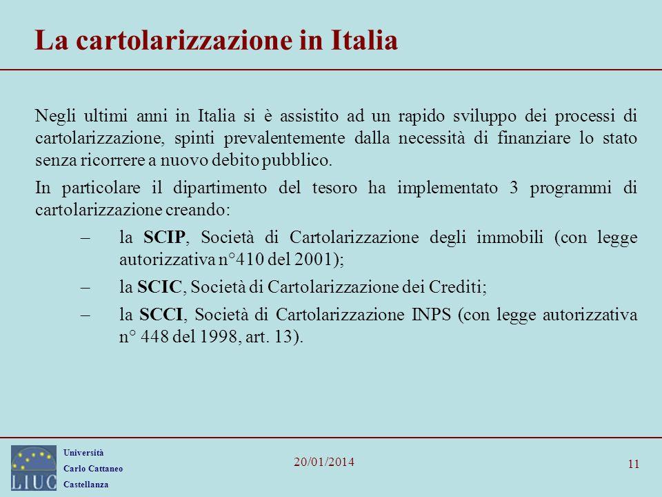 Università Carlo Cattaneo Castellanza 20/01/2014 11 La cartolarizzazione in Italia Negli ultimi anni in Italia si è assistito ad un rapido sviluppo dei processi di cartolarizzazione, spinti prevalentemente dalla necessità di finanziare lo stato senza ricorrere a nuovo debito pubblico.