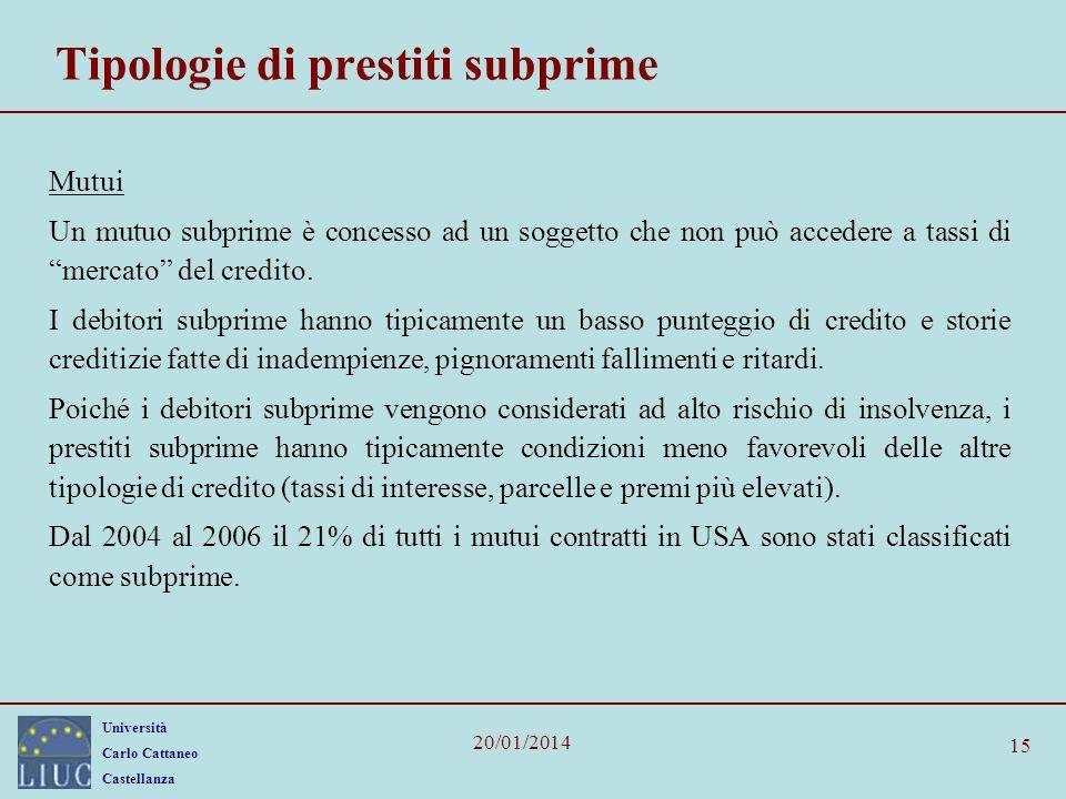 Università Carlo Cattaneo Castellanza 20/01/2014 15 Tipologie di prestiti subprime Mutui Un mutuo subprime è concesso ad un soggetto che non può accedere a tassi di mercato del credito.