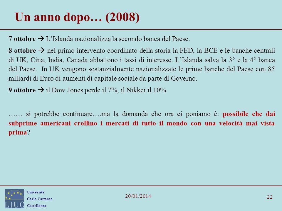 Università Carlo Cattaneo Castellanza 20/01/2014 22 Un anno dopo… (2008) 7 ottobre LIslanda nazionalizza la secondo banca del Paese.