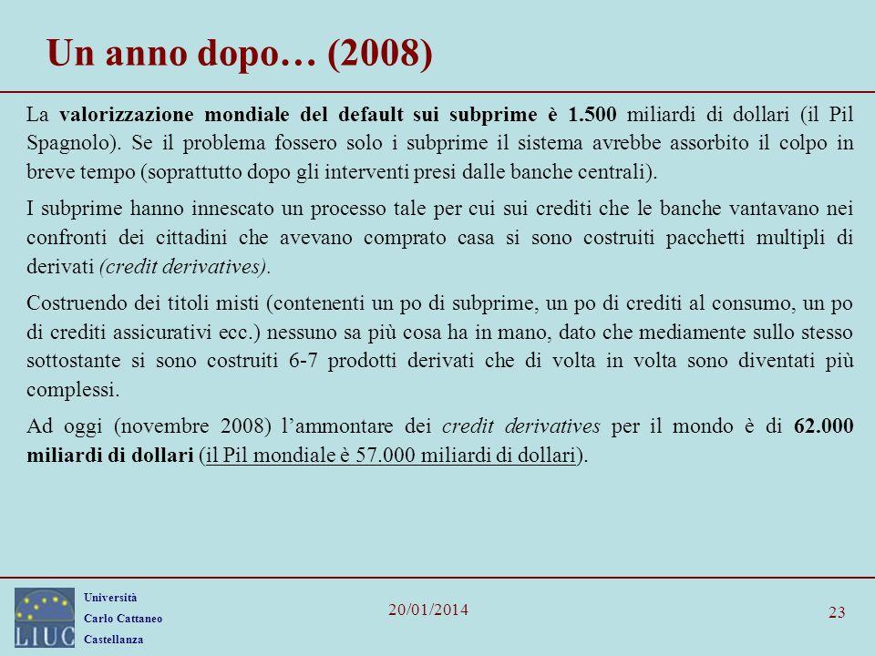 Università Carlo Cattaneo Castellanza 20/01/2014 23 Un anno dopo… (2008) La valorizzazione mondiale del default sui subprime è 1.500 miliardi di dollari (il Pil Spagnolo).