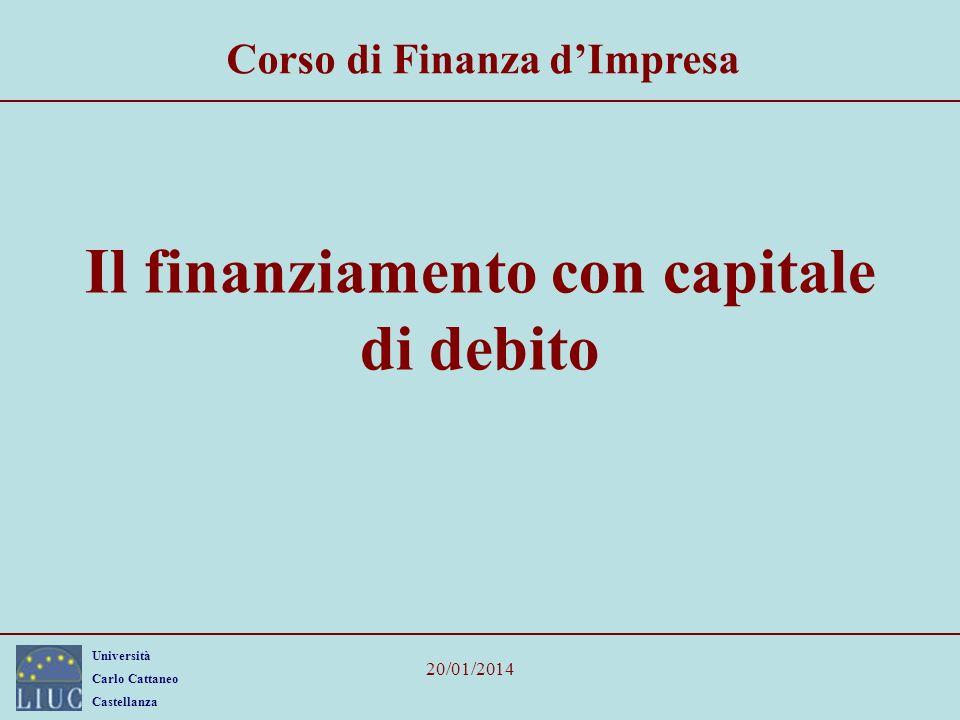 Università Carlo Cattaneo Castellanza 20/01/2014 Il finanziamento con capitale di debito Corso di Finanza dImpresa