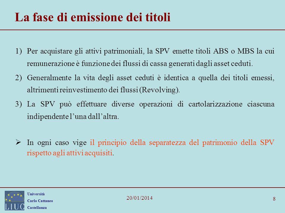 Università Carlo Cattaneo Castellanza 20/01/2014 8 La fase di emissione dei titoli 1)Per acquistare gli attivi patrimoniali, la SPV emette titoli ABS o MBS la cui remunerazione è funzione dei flussi di cassa generati dagli asset ceduti.