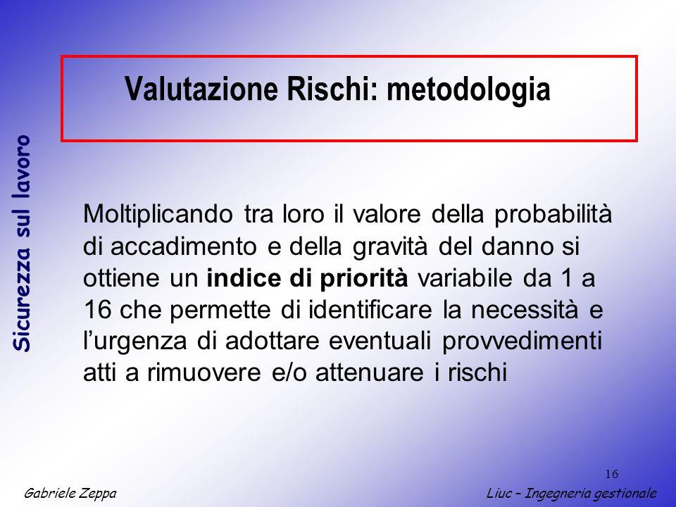 Gabriele ZeppaLiuc – Ingegneria gestionale Sicurezza sul lavoro 16 Valutazione Rischi: metodologia Moltiplicando tra loro il valore della probabilità