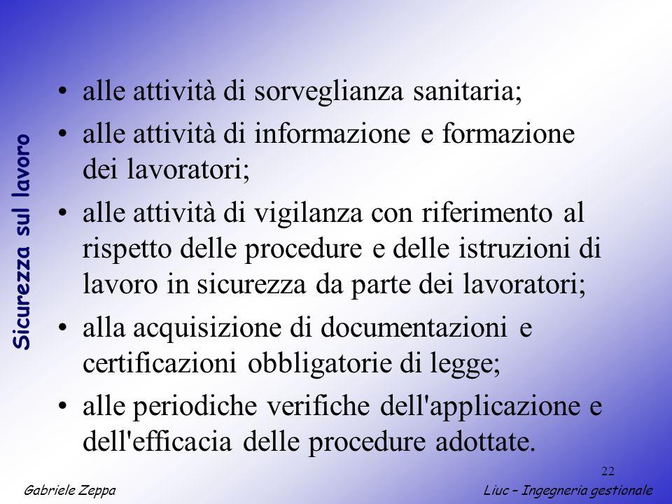 Gabriele ZeppaLiuc – Ingegneria gestionale Sicurezza sul lavoro 22 alle attività di sorveglianza sanitaria; alle attività di informazione e formazione