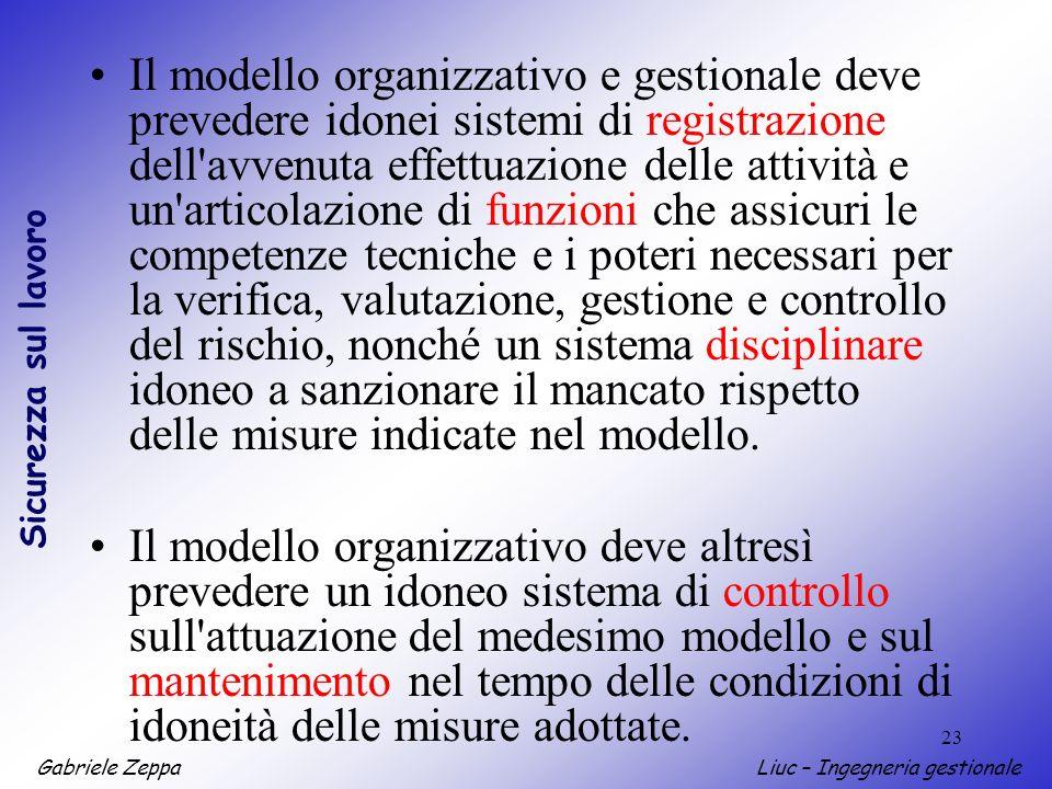 Gabriele ZeppaLiuc – Ingegneria gestionale Sicurezza sul lavoro 23 Il modello organizzativo e gestionale deve prevedere idonei sistemi di registrazion