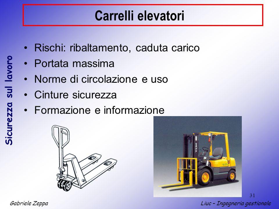 Gabriele ZeppaLiuc – Ingegneria gestionale Sicurezza sul lavoro 31 Carrelli elevatori Rischi: ribaltamento, caduta carico Portata massima Norme di cir