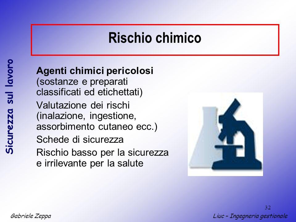 Gabriele ZeppaLiuc – Ingegneria gestionale Sicurezza sul lavoro 32 Rischio chimico Agenti chimici pericolosi (sostanze e preparati classificati ed eti