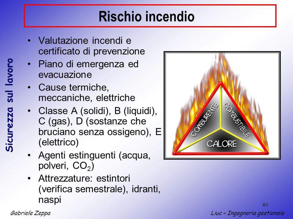 Gabriele ZeppaLiuc – Ingegneria gestionale Sicurezza sul lavoro 40 Rischio incendio Valutazione incendi e certificato di prevenzione Piano di emergenz