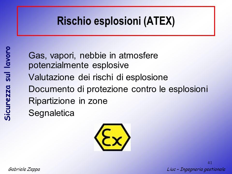 Gabriele ZeppaLiuc – Ingegneria gestionale Sicurezza sul lavoro 41 Rischio esplosioni (ATEX) Gas, vapori, nebbie in atmosfere potenzialmente esplosive Valutazione dei rischi di esplosione Documento di protezione contro le esplosioni Ripartizione in zone Segnaletica