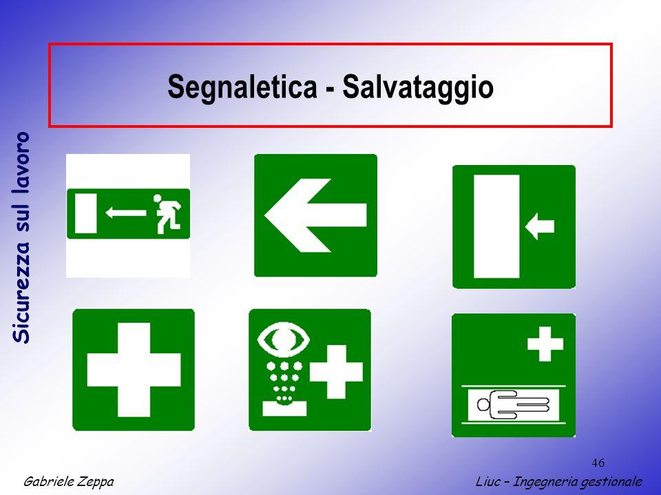 Gabriele ZeppaLiuc – Ingegneria gestionale Sicurezza sul lavoro 46 Segnaletica - Salvataggio