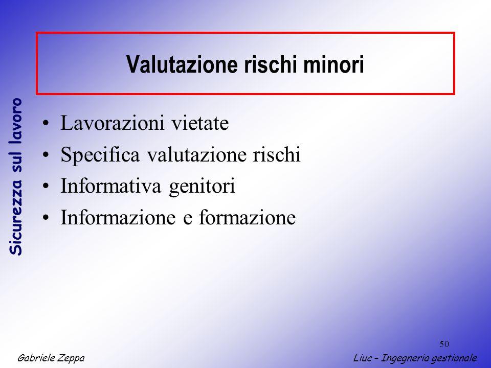 Gabriele ZeppaLiuc – Ingegneria gestionale Sicurezza sul lavoro 50 Lavorazioni vietate Specifica valutazione rischi Informativa genitori Informazione e formazione Valutazione rischi minori