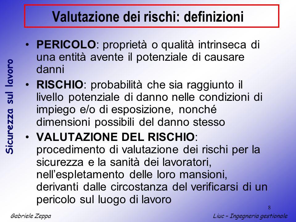 Gabriele ZeppaLiuc – Ingegneria gestionale Sicurezza sul lavoro 8 Valutazione dei rischi: definizioni PERICOLO: proprietà o qualità intrinseca di una
