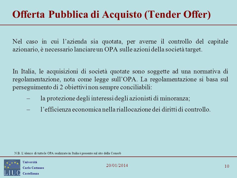 Università Carlo Cattaneo Castellanza 20/01/2014 10 Offerta Pubblica di Acquisto (Tender Offer) Nel caso in cui lazienda sia quotata, per averne il controllo del capitale azionario, è necessario lanciare un OPA sulle azioni della società target.