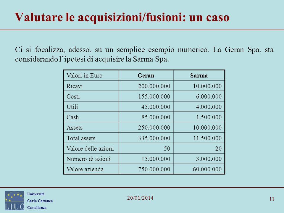 Università Carlo Cattaneo Castellanza 20/01/2014 11 Valutare le acquisizioni/fusioni: un caso Ci si focalizza, adesso, su un semplice esempio numerico.