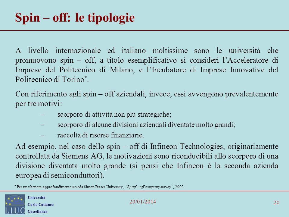 Università Carlo Cattaneo Castellanza 20/01/2014 20 Spin – off: le tipologie A livello internazionale ed italiano moltissime sono le università che promuovono spin – off, a titolo esemplificativo si consideri lAcceleratore di Imprese del Politecnico di Milano, e lIncubatore di Imprese Innovative del Politecnico di Torino *.