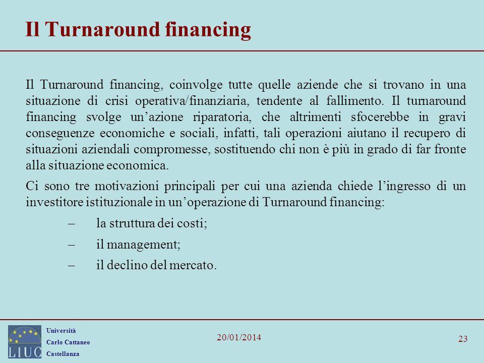 Università Carlo Cattaneo Castellanza 20/01/2014 23 Il Turnaround financing Il Turnaround financing, coinvolge tutte quelle aziende che si trovano in una situazione di crisi operativa/finanziaria, tendente al fallimento.