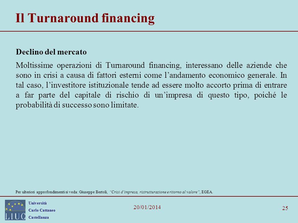 Università Carlo Cattaneo Castellanza 20/01/2014 25 Il Turnaround financing Declino del mercato Moltissime operazioni di Turnaround financing, interessano delle aziende che sono in crisi a causa di fattori esterni come landamento economico generale.