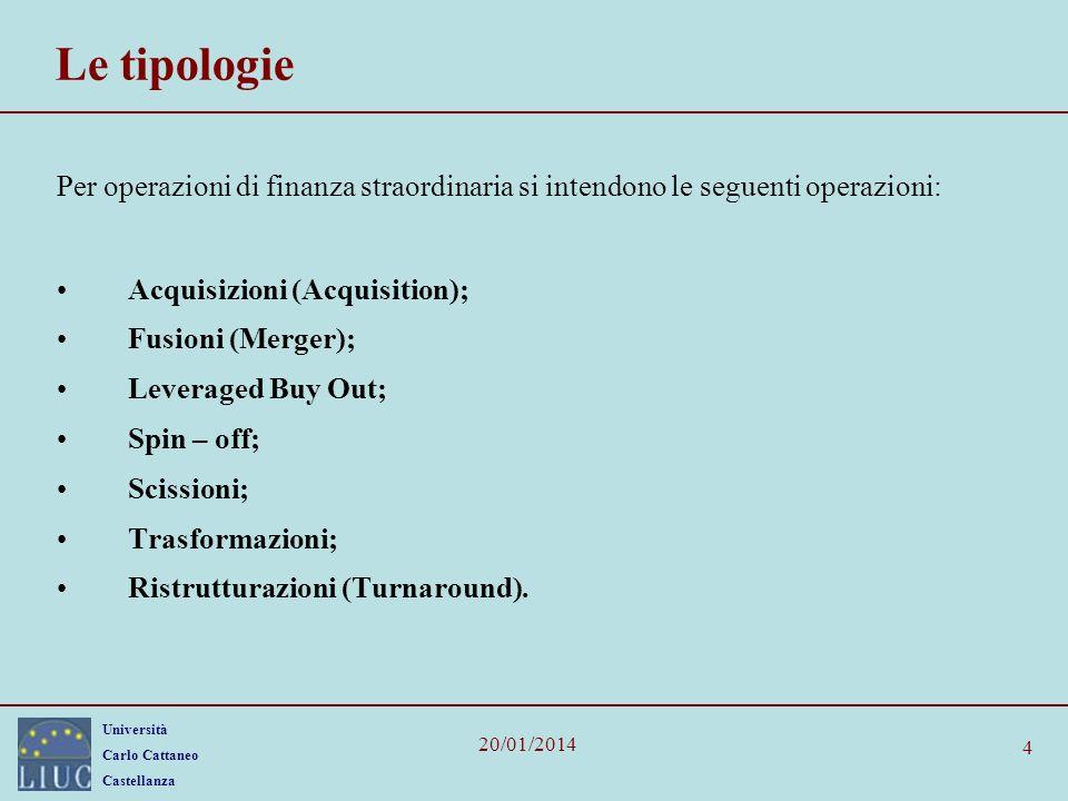 Università Carlo Cattaneo Castellanza 20/01/2014 4 Le tipologie Per operazioni di finanza straordinaria si intendono le seguenti operazioni: Acquisizioni (Acquisition); Fusioni (Merger); Leveraged Buy Out; Spin – off; Scissioni; Trasformazioni; Ristrutturazioni (Turnaround).
