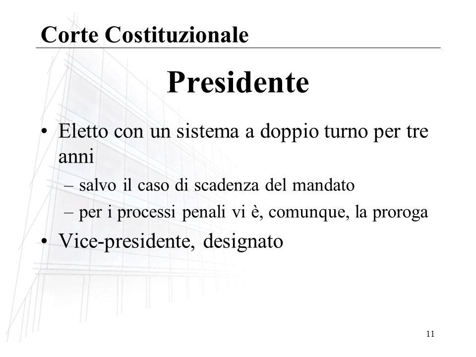 11 Presidente Eletto con un sistema a doppio turno per tre anni –salvo il caso di scadenza del mandato –per i processi penali vi è, comunque, la proroga Vice-presidente, designato Corte Costituzionale