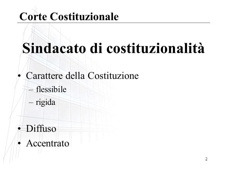 2 Sindacato di costituzionalità Carattere della Costituzione –flessibile –rigida Diffuso Accentrato Corte Costituzionale