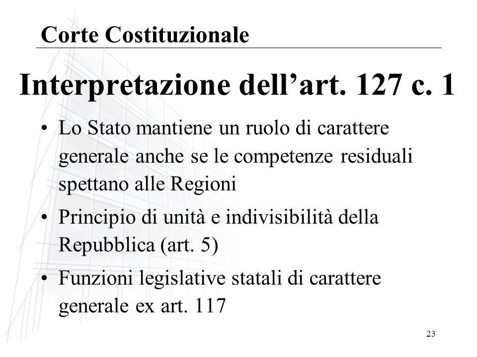23 Interpretazione dellart.127 c.