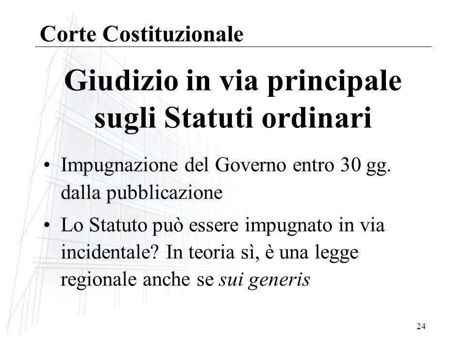 24 Giudizio in via principale sugli Statuti ordinari Impugnazione del Governo entro 30 gg.
