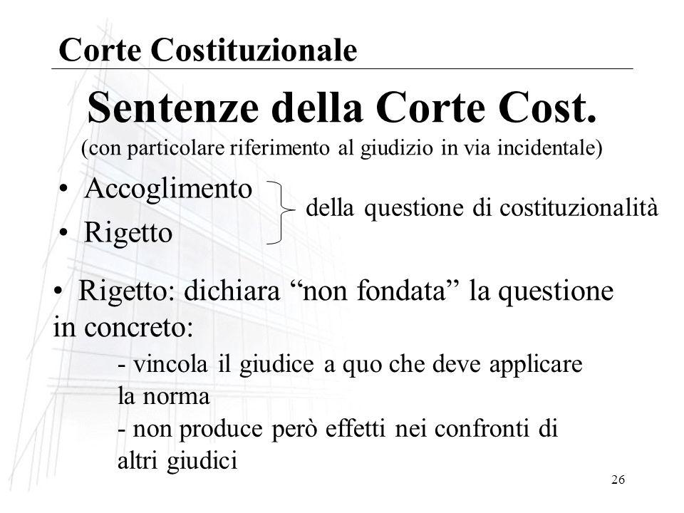 26 Sentenze della Corte Cost.