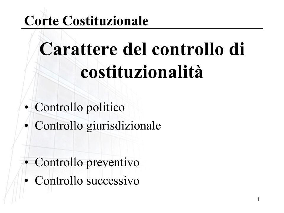4 Carattere del controllo di costituzionalità Controllo politico Controllo giurisdizionale Controllo preventivo Controllo successivo Corte Costituzionale