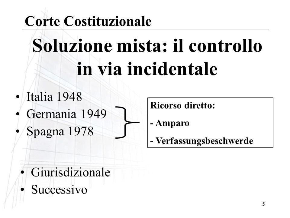 6 Costituzione italiana Corte costituzionale Controllo: –accentrato –giurisdizionale –successivo Corte Costituzionale