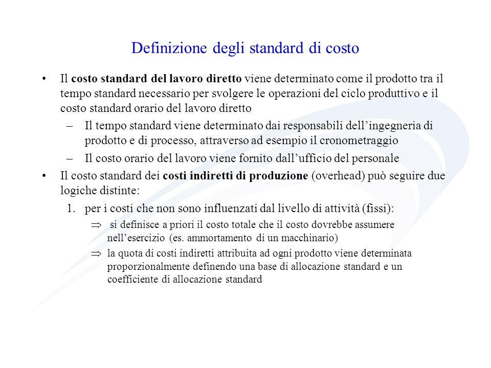 Definizione degli standard di costo Il costo standard del lavoro diretto viene determinato come il prodotto tra il tempo standard necessario per svolg