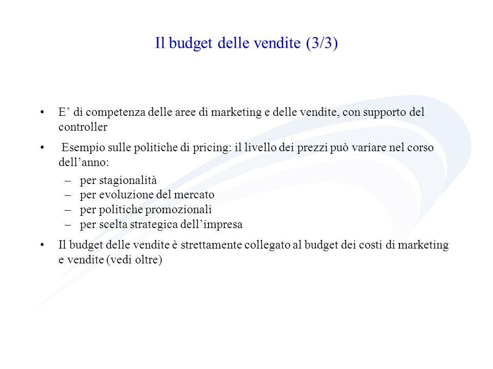 Il budget della produzione Una volta identificato il fatturato di budget occorre determinare la quantità di output (Pi) che limpresa deve produrre per far fronte al piano delle vendite A partire da scorte iniziali (SI, espresse in quantità) e pianificata la quantità di scorte finali (SF, in quantità, budget scorte finali), si ottiene la quantità di produzione programmata di ciascun prodotto in ciascun periodo di tempo: Pi = Vi + SFi - SIi Per costruire piano di produzione occorre verificare la congruenza fra risorse richieste dal budget e risorse effettivamente disponibili, cioè per ogni risorsa j-esima: Pi*tij Tj dove tij rappresenta la quantità unitaria della risorsa j-esima richiesta dal prodotto i-esimo e Tj la disponibilità complessiva della risorsa j-esima.