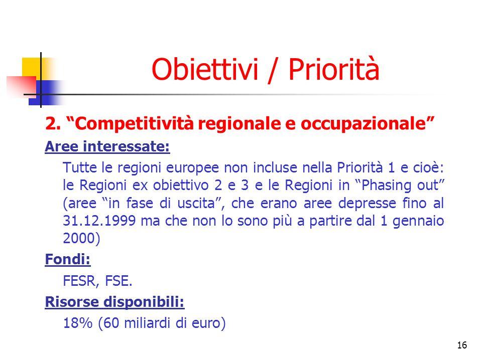 16 Obiettivi / Priorità 2. Competitività regionale e occupazionale Aree interessate: Tutte le regioni europee non incluse nella Priorità 1 e cioè: le
