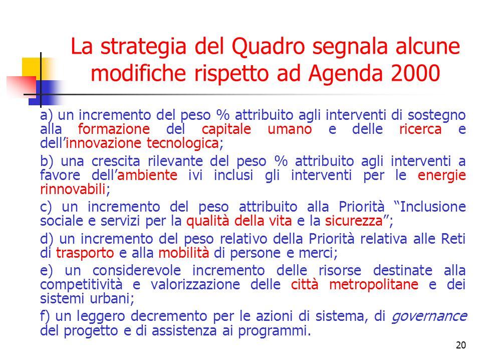 20 La strategia del Quadro segnala alcune modifiche rispetto ad Agenda 2000 a) un incremento del peso % attribuito agli interventi di sostegno alla fo
