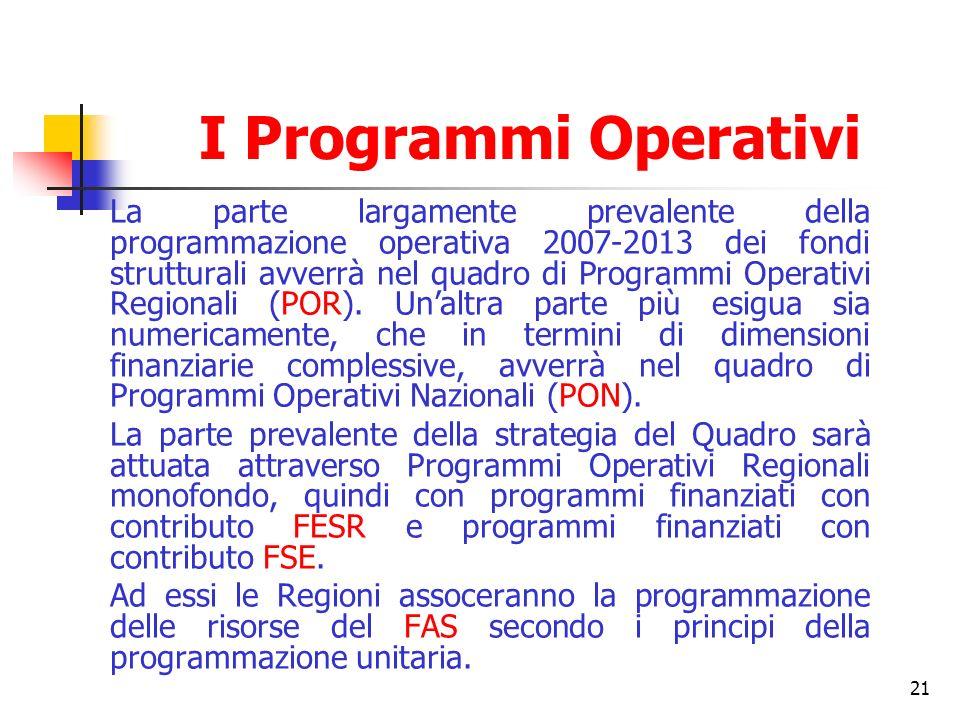 21 I Programmi Operativi La parte largamente prevalente della programmazione operativa 2007-2013 dei fondi strutturali avverrà nel quadro di Programmi
