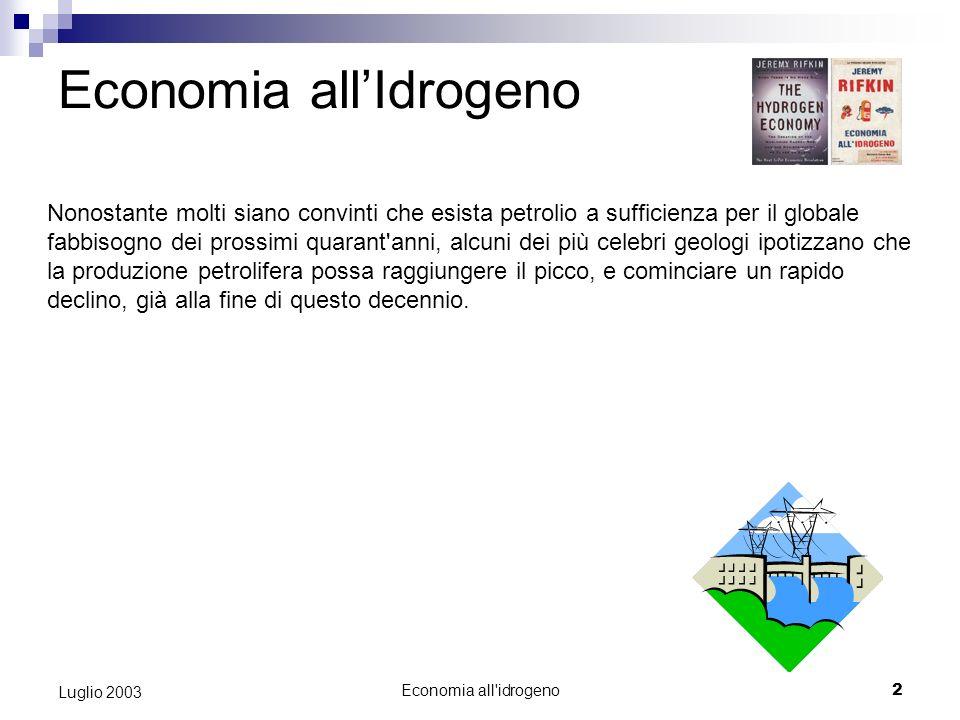 Economia all idrogeno1 Luglio 2003 ECONOMIA ALLIDROGENO Luglio 2003