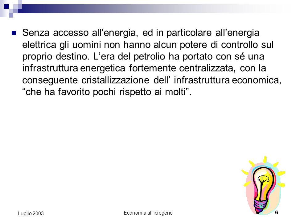 Economia all idrogeno5 Luglio 2003 Notevoli saranno le ricadute sociali di questa imminente rivoluzione energetica.