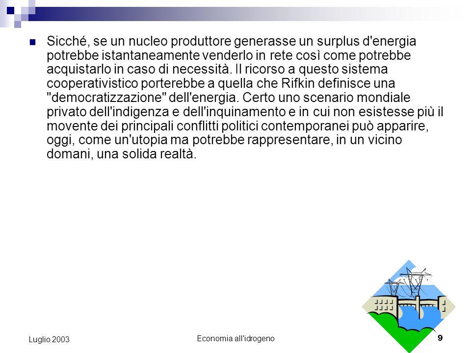 Economia all idrogeno8 Luglio 2003 L economia all idrogeno rappresenta l effettiva possibilità di ridurre questo divario poiché fondata su una materia prima, l acqua, presente in abbondanza sulla terra.